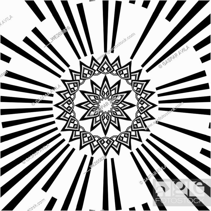 Vecteur de stock: Starry black mandala on a white background.