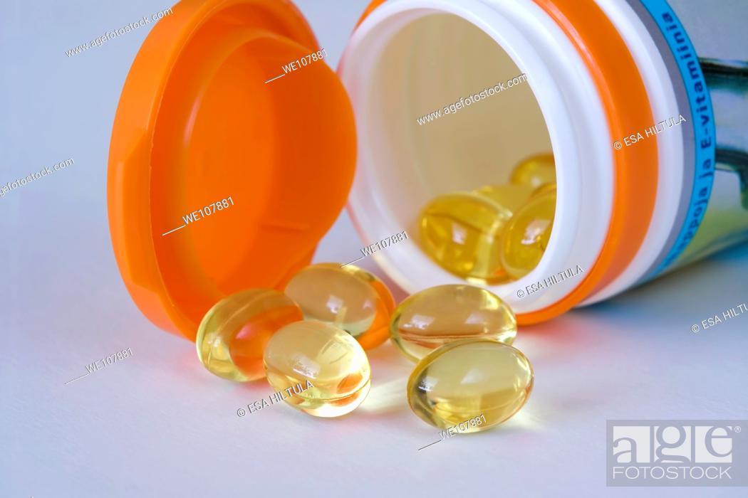 Stock Photo: fish oil capsules.