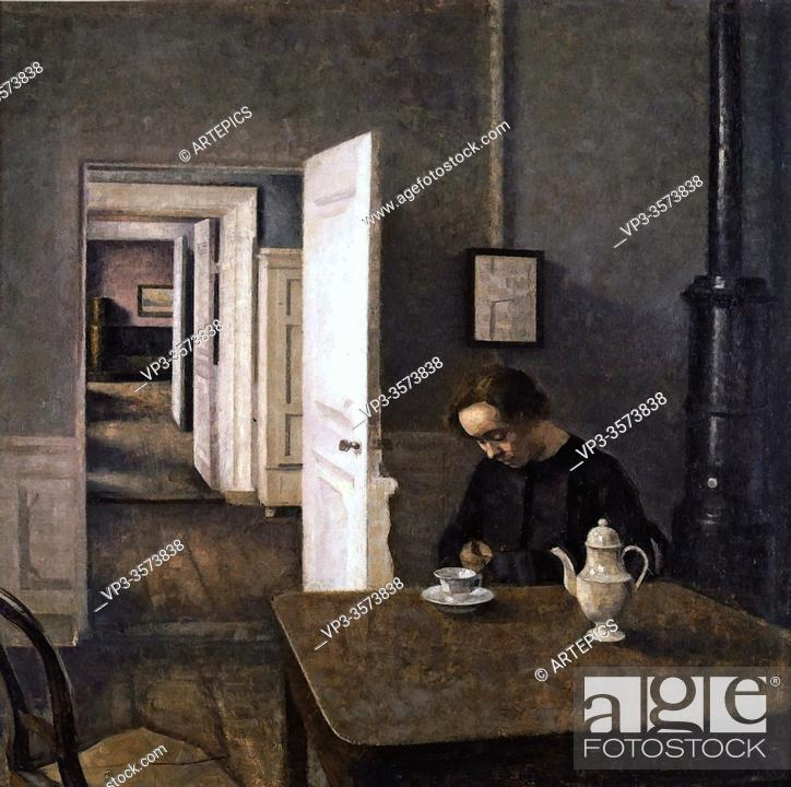 Imagen: Hammershoi Vilhelm - Interior Strandgade 25 - Danish School - 19th and Early 20th Century.