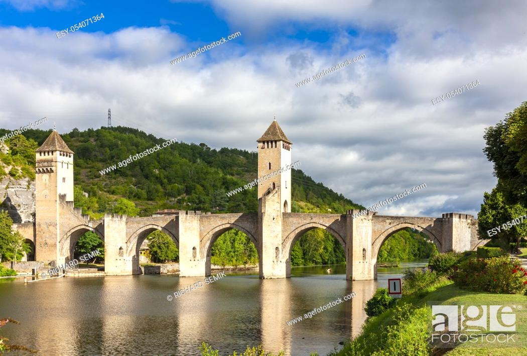 Stock Photo: Pont Valentre across the Lot River in Cahors south west France.