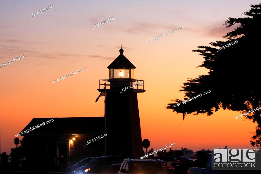 Stock Photo: Lighthouse Sunset Seashore of California.