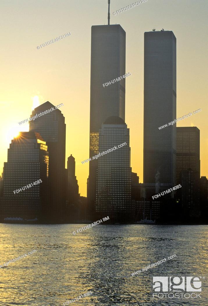 Stock Photo: Sunrise over Manhattan, New York City, NY from New Jersey.