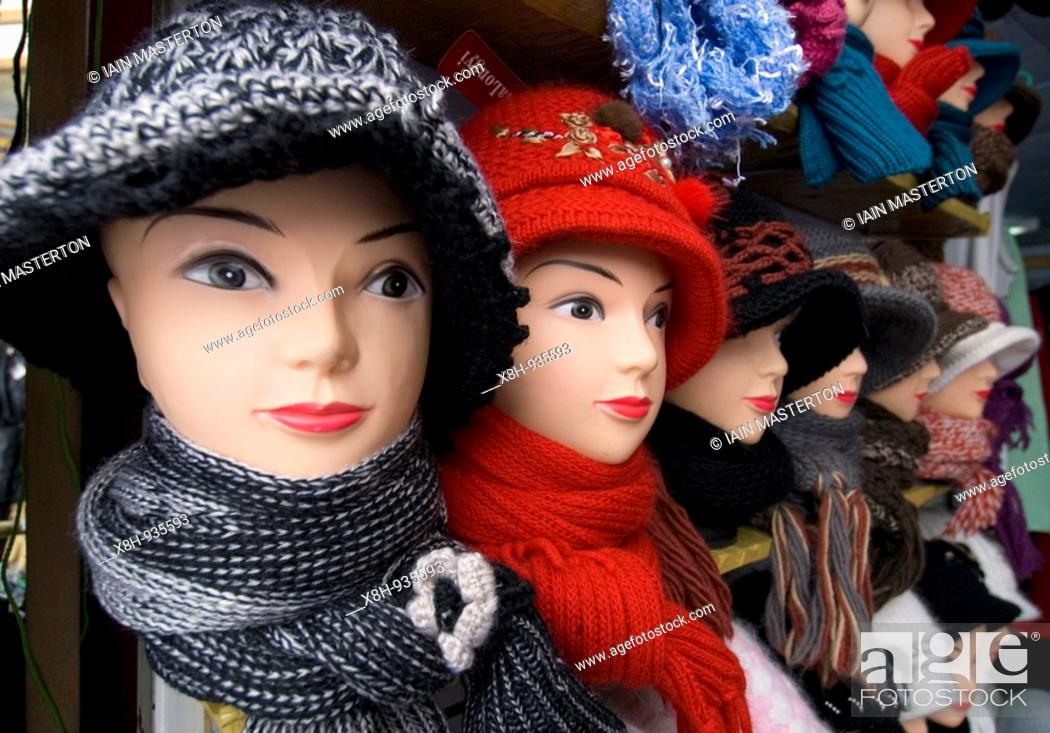 Stock Photo: Many hats for sale in market at Yuzhno Sakhalinsk Sakhalin Island Russia.
