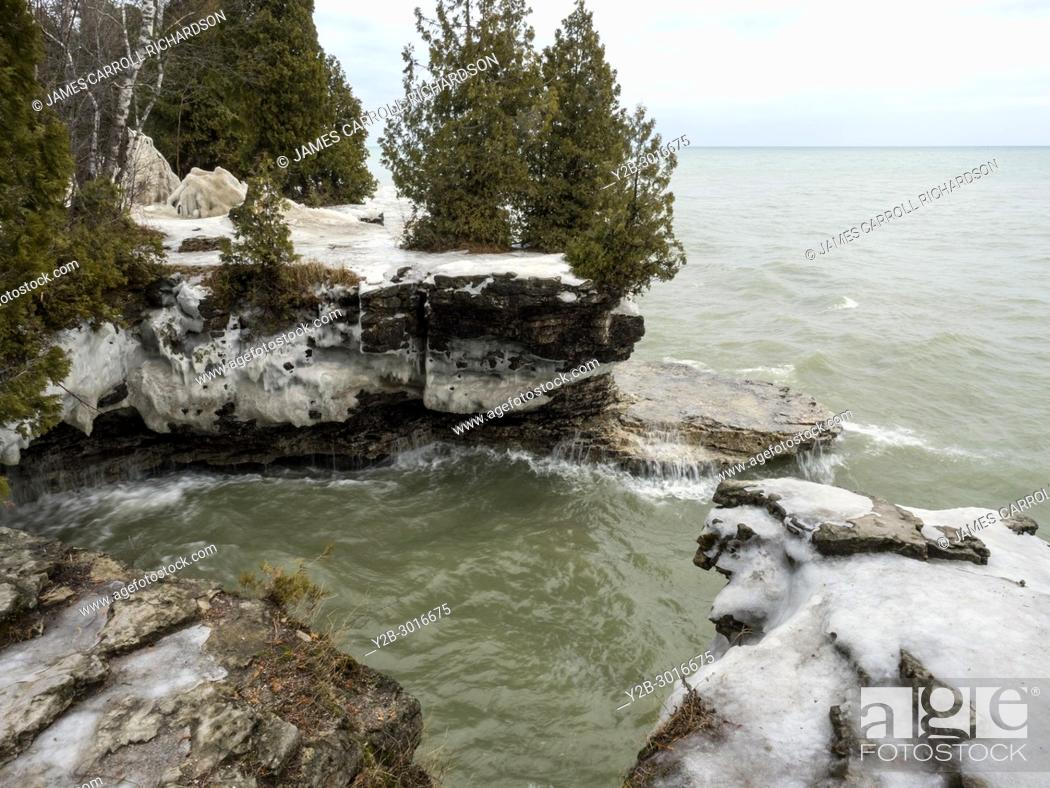 Stock Photo: Shoreline of Lake Michigan at Cave Point County Park in Door County Wisconsin.