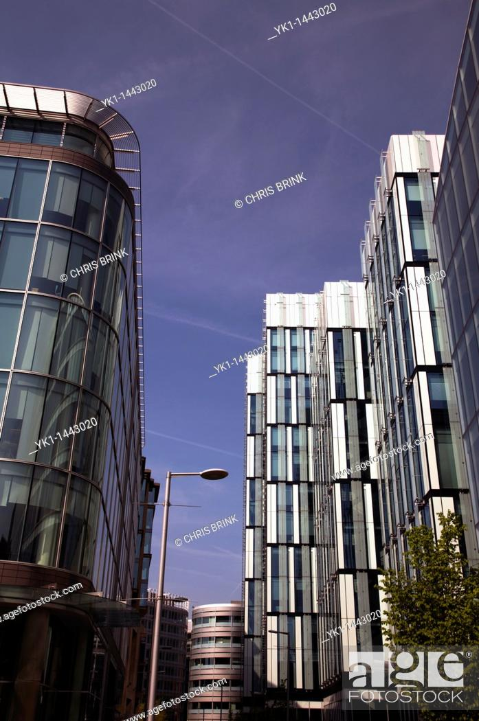 Stock Photo: Modern architecture in Spinningfields Manchester UK.