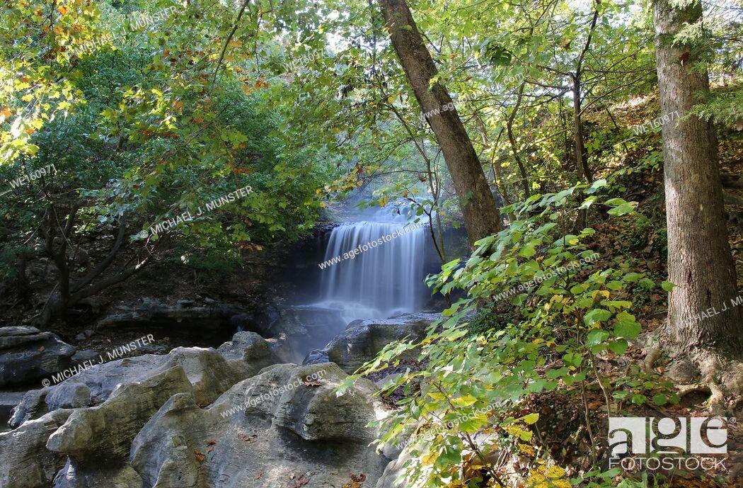 Stock Photo: Tanyard Creek waterfall at Tanyard Creek Park in Bella Vista, Arkansas. USA.