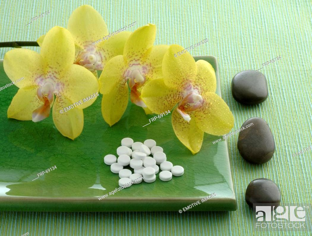 Stock Photo: Globuli and orchids.