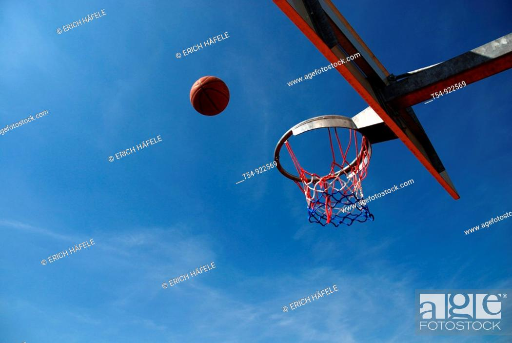 Stock Photo: Basketball fly to the Basket.