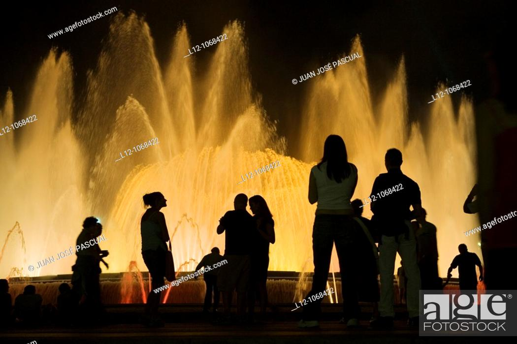 Stock Photo: Palau Nacional and Magic fountain at Montjuich, Barcelona, Catalonia, Spain.