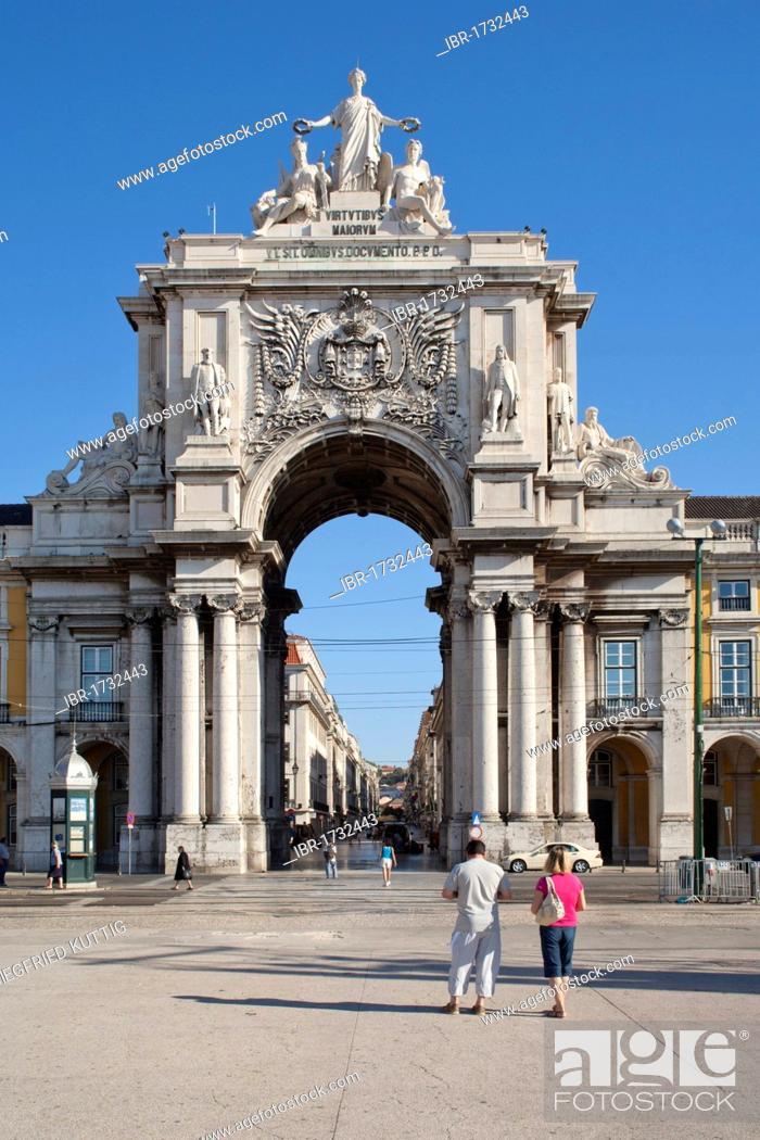Stock Photo: Arco Triunfal, triumphal arch, Praca do Comercio square, Lisbon, Portugal, Europe.