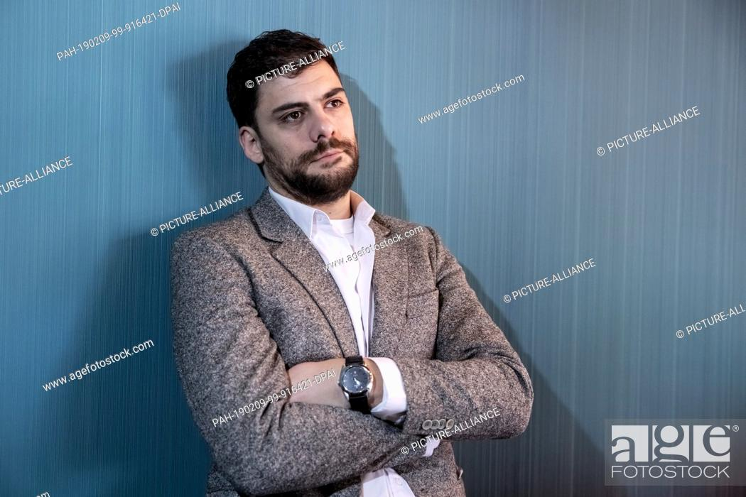 """Stock Photo: 09 February 2019, Berlin: 69th Berlinale: The actor Milan Maric, Serbia, is at the press reception for the """"""""European Shooting Stars 2019"""""""" in the Audi."""