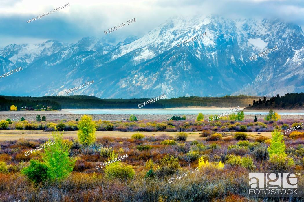 Stock Photo: Autumn in the Grand Teton National Park.