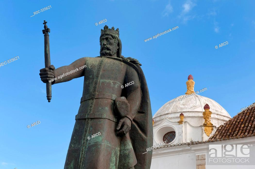 Stock Photo: Statue of King Alfonso III, Largo da Se, Algarve, Portugal.