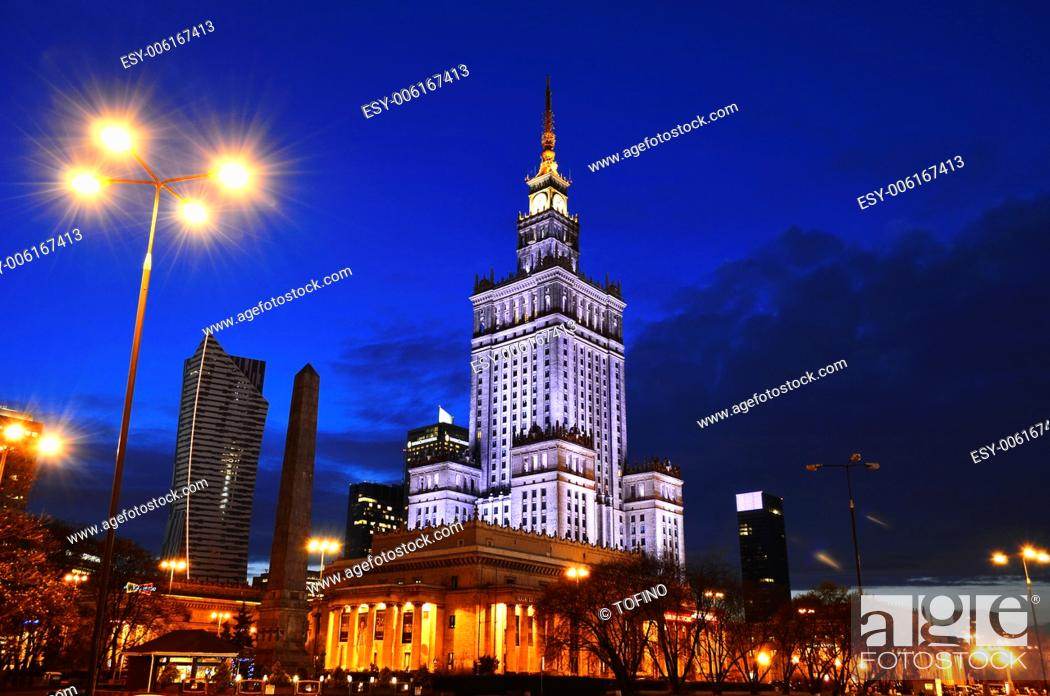 Stock Photo: Warsaw city center with Palace of Culture and Science, the tallest building in Poland and the eighth tallest building in the EU.