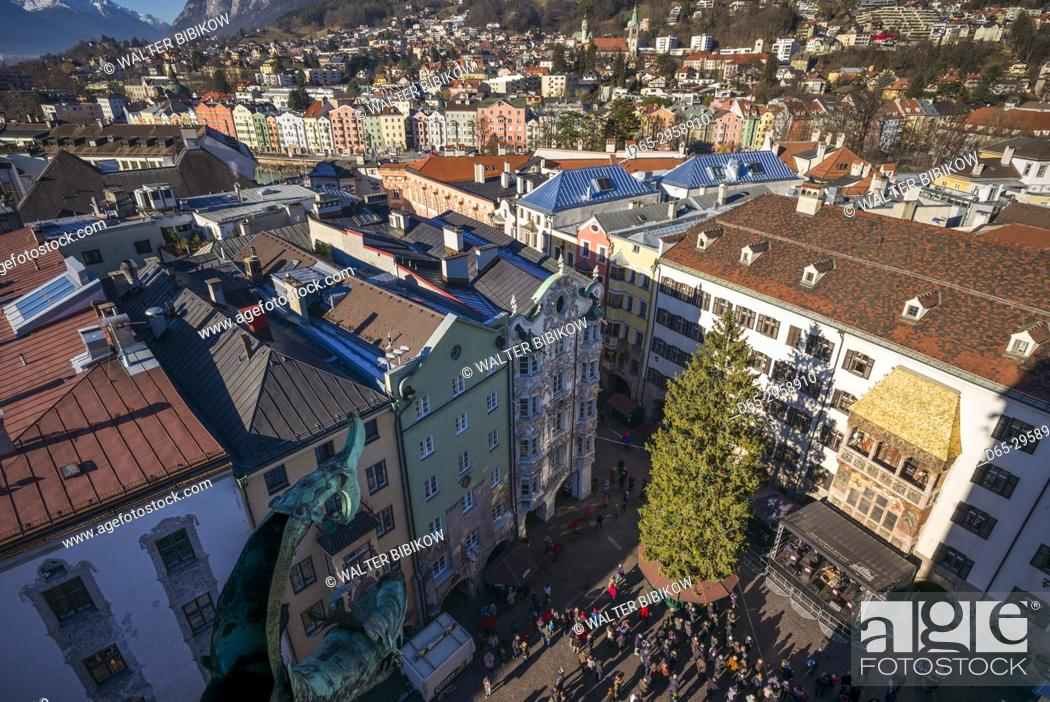 Stock Photo: Austria, Tyrol, Innsbruck, elevated view of the Golden Roof, Goldenes Dachl, Christmastime.