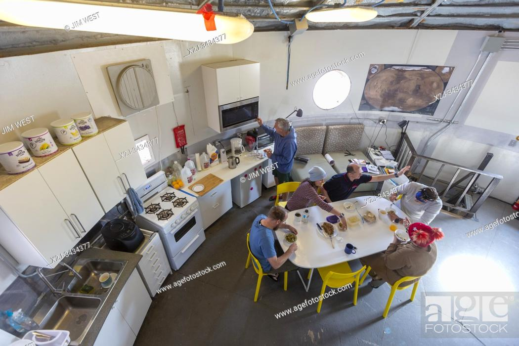 Stock Photo: Hanksville, Utah - Researchers simulate living on Mars at the Mars Desert Research Station. The Australian crew of 'Expedition Boomerang' ate lunch at the.
