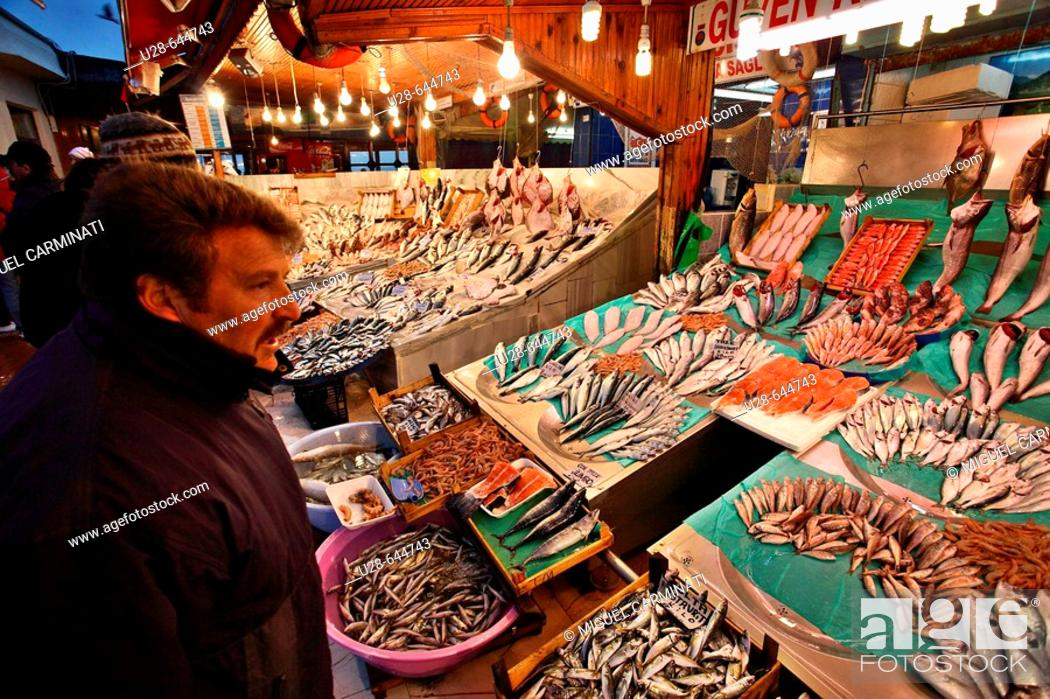 Stock Photo: Turkey, Istanbul. Located by the Marmara sea, in the Kumkapi area, this fish market offer a wide variety of fresh sea food.