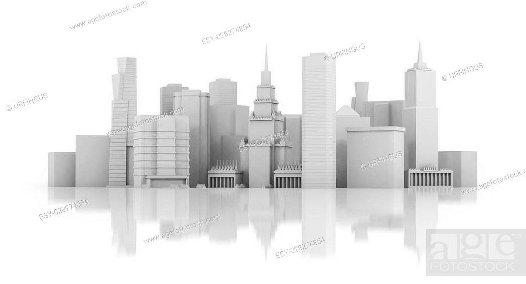Stock Photo: 3d city isolated on mirror floor.