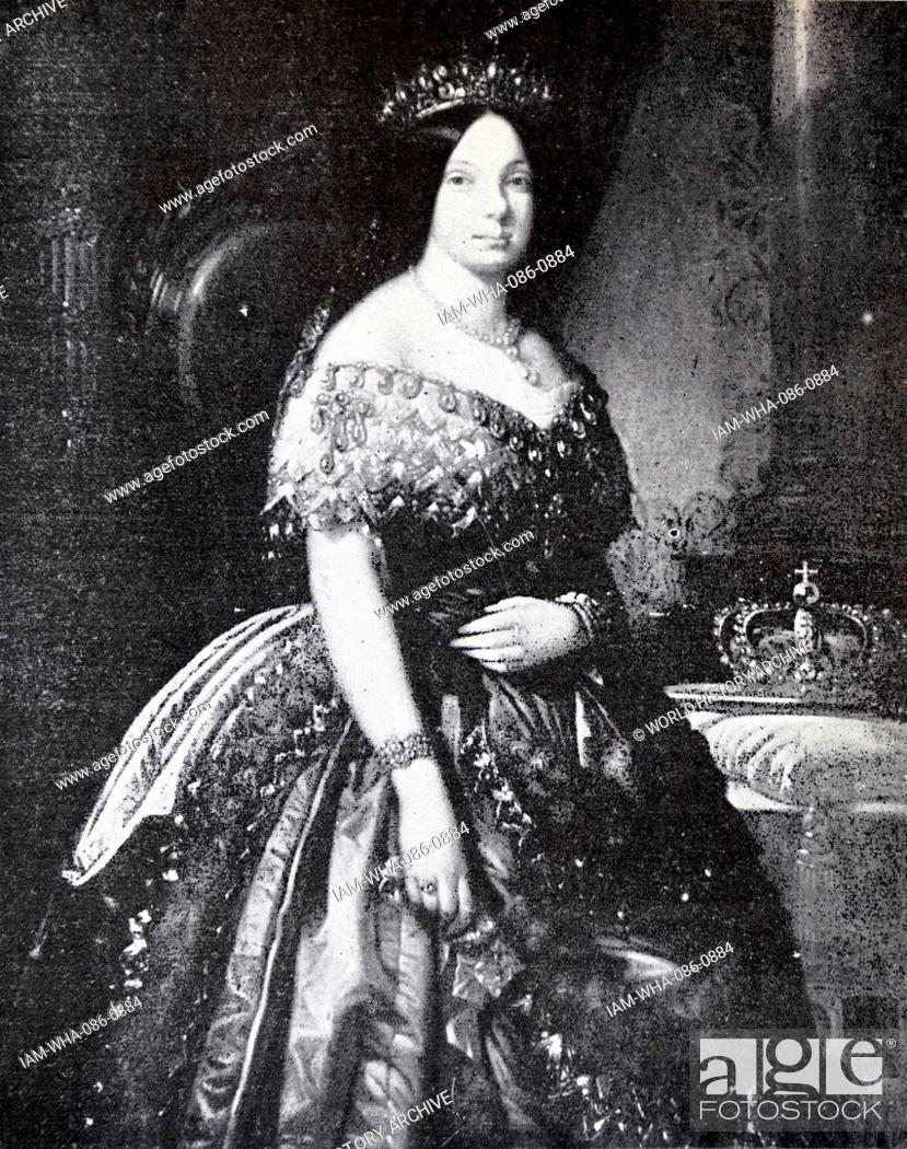 Stock Photo: Portrait of Isabella II of Spain (1830-1904) Queen regent of Spain. Dated 19th Century.