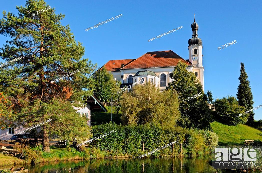 Stock Photo: Die Pfarrkirche St. Johannes Baptist in Breitbrunn am Chiemsee / The Church John the Baptist at Breitbrunn at the Chiemsee in Bavaria.