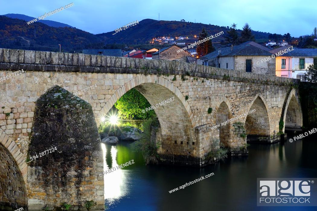 Stock Photo: Medieval bridge of Petin, Orense, Spain.