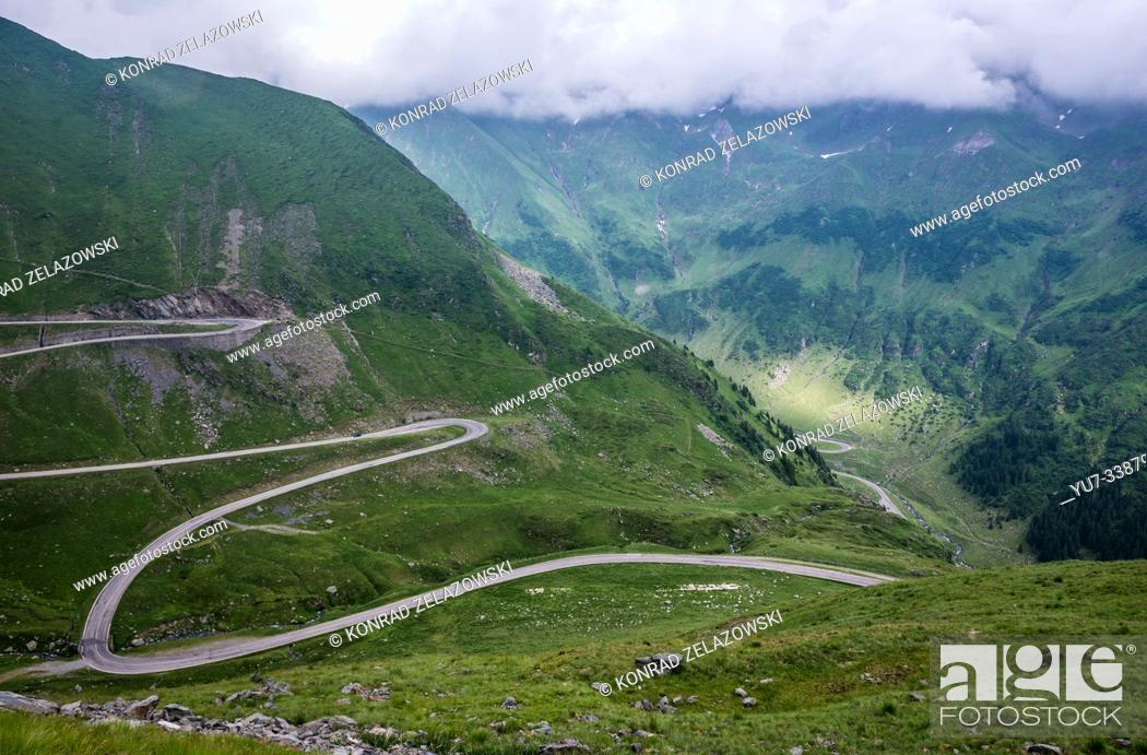 Stock Photo: Transfagarasan Road (DN7C also known as CeauÈ. escu's Folly) crossing the southern section of the Carpathian Mountains in Romania.