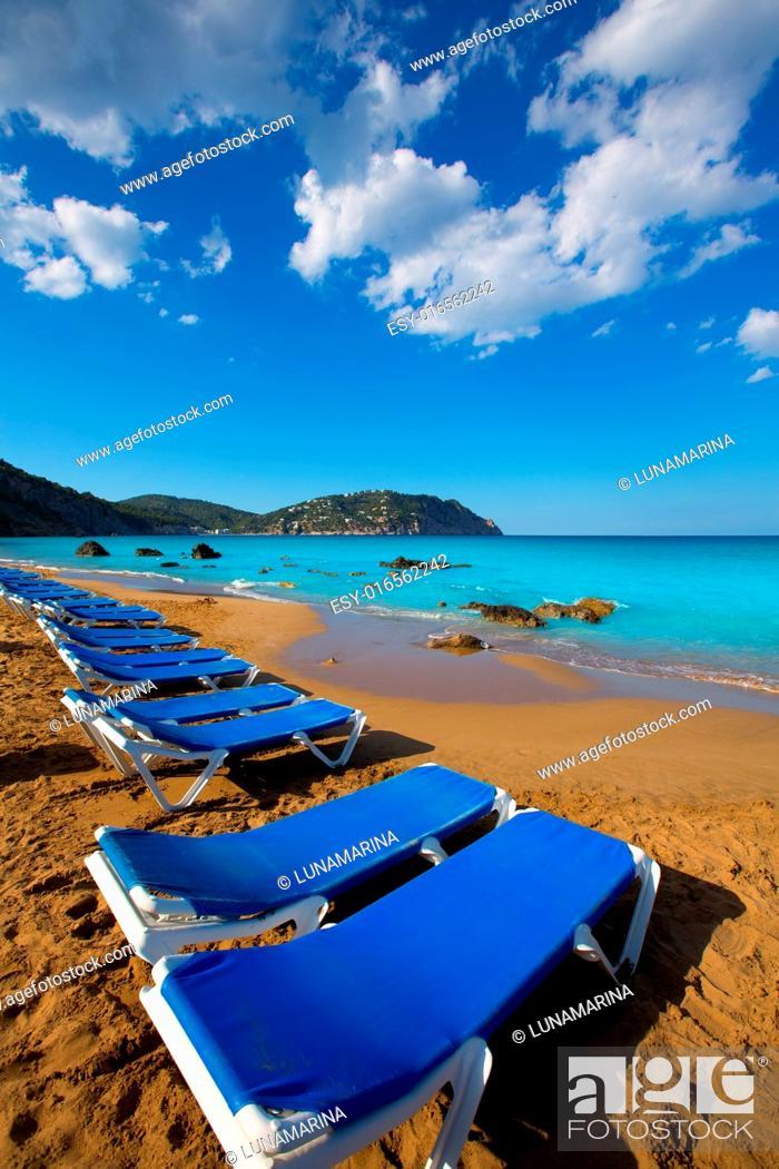 Stock Photo: Ibiza Aigues Blanques Aguas Blancas Beach at Santa Eulalia Balearic Islands of spain.