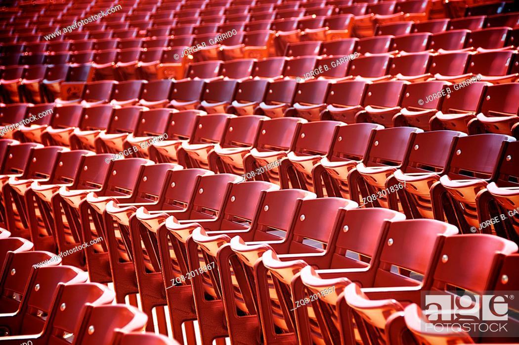 Stock Photo: Red auditorium seats.