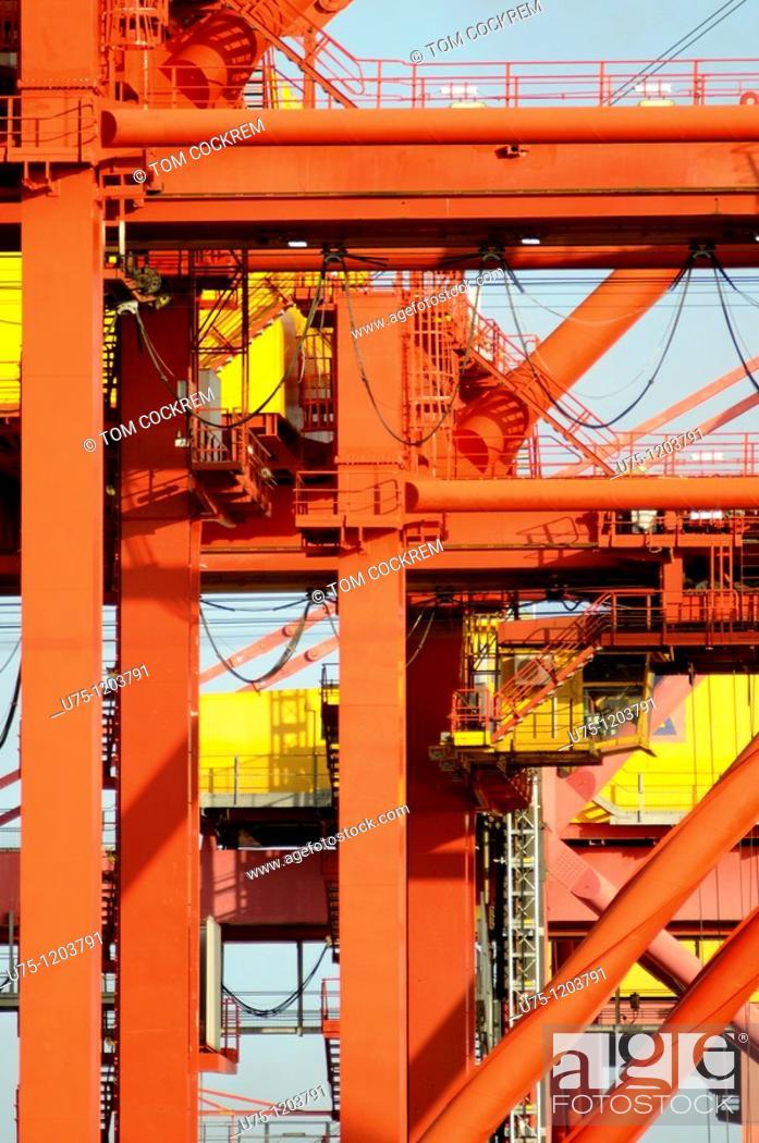 Stock Photo: cranes in Port Melbourne, Melbourne, Australia.