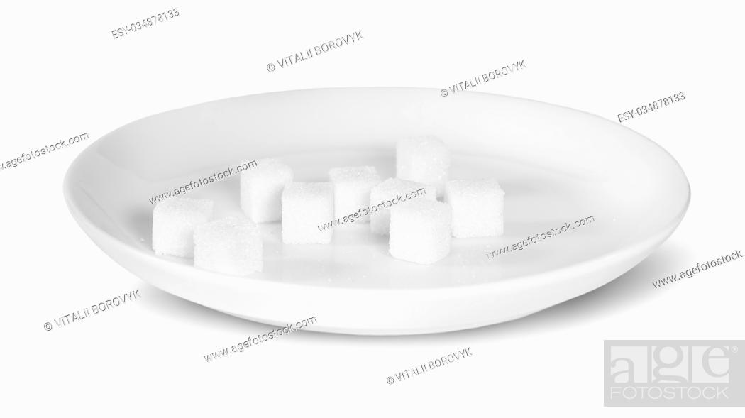 Stock Photo: Sugar Cubes On A White Plate Isolated On White Background.