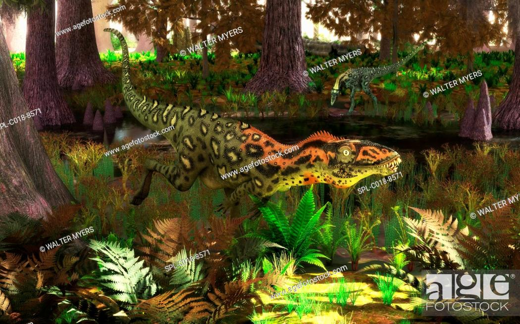 Stock Photo: Masiakasaurus dinosaurs. Artwork of two small predatory theropod dinosaurs of the genus Masiakasaurus, hunting by a river in a forest of cypress.