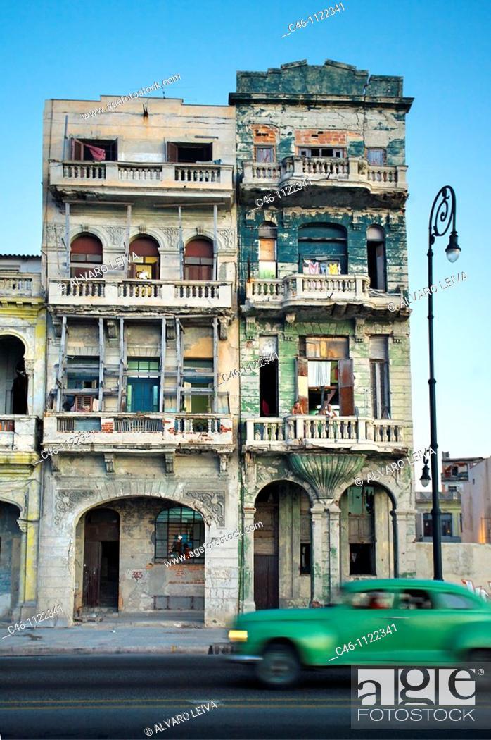 Stock Photo: Buildings by the malecon sea front boulevard. La Havana. Cuba.