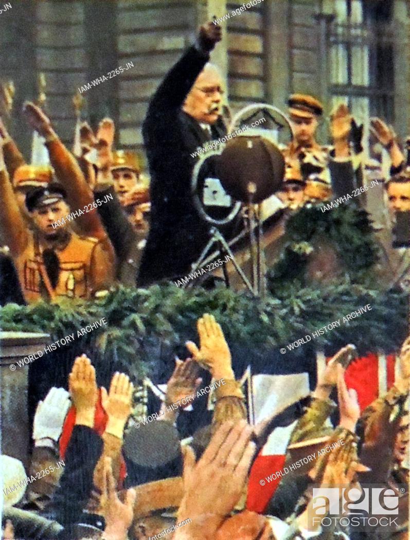 Stock Photo: President Paul Von Hindenburg of Gernmany addresses a rally in Berlin circa 1933.