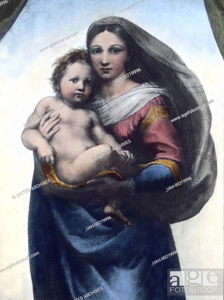 Stock Photo: Part of the altarpiece known as the Sistine Madonna by Italian Renaissance painter Raphael also known as Raffaello da Urbino, Raffaello Santi, (1483 - 1520).