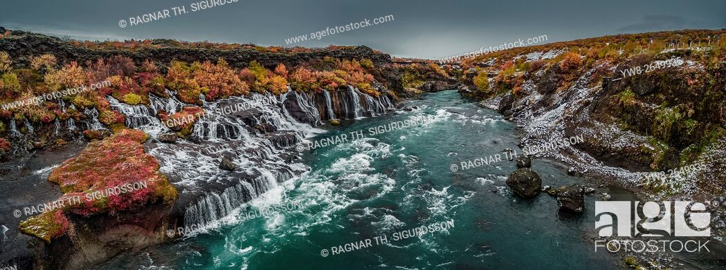 Stock Photo: Autumn color and Hraunfossar waterfalls, Iceland. This image is shot using a drone.