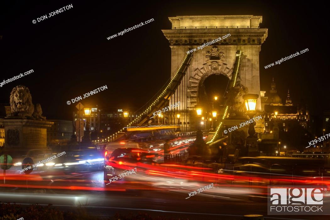 Stock Photo: Chain Bridge at night with traffic, Budapest, Central Hungary, Hungary.