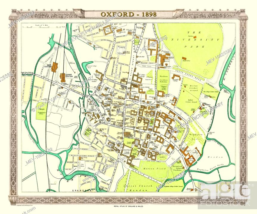 Late 19th Century Map Of Oxford England Stock Photo Picture And