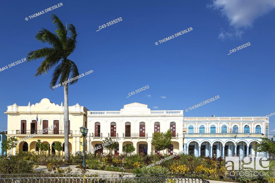 Stock Photo: Restored historic buildings at the Parque Céspedes. Bayamo, Cuba.