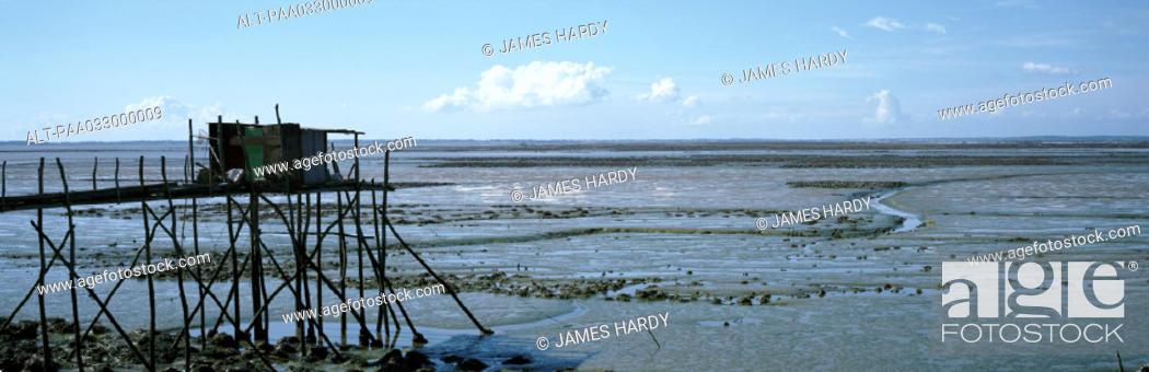 Stock Photo: France, seashore at low tide, panoramic view.