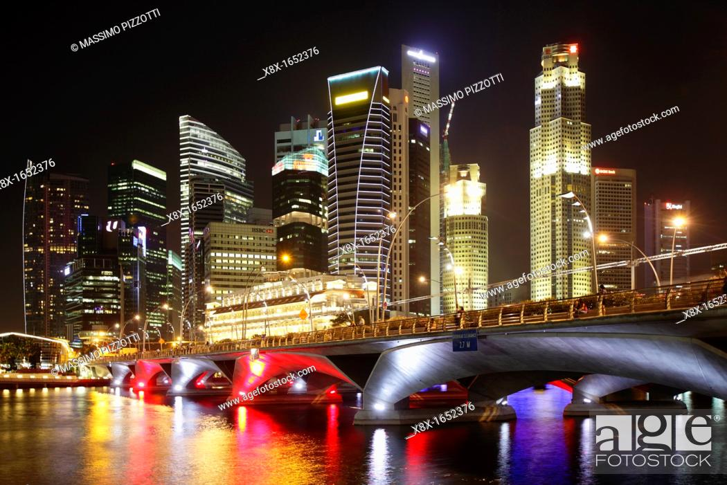 Stock Photo: Singapore Skyline at dusk, Singapore.