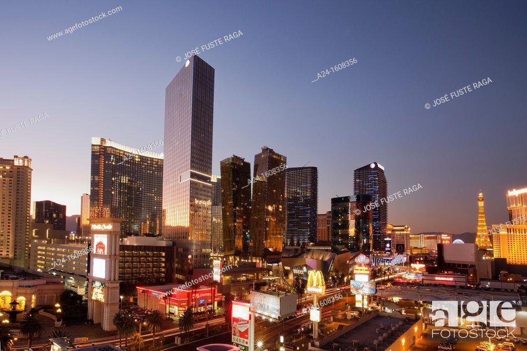 Stock Photo: USA-Nevada-Las Vegas City-The Strip Avenue-The City Center Skyline-Sunset.
