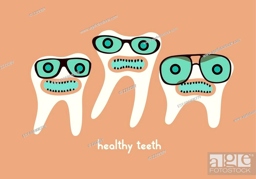 Stock Vector: Funny teeth cartoon characters in glasses. Vector illustration.