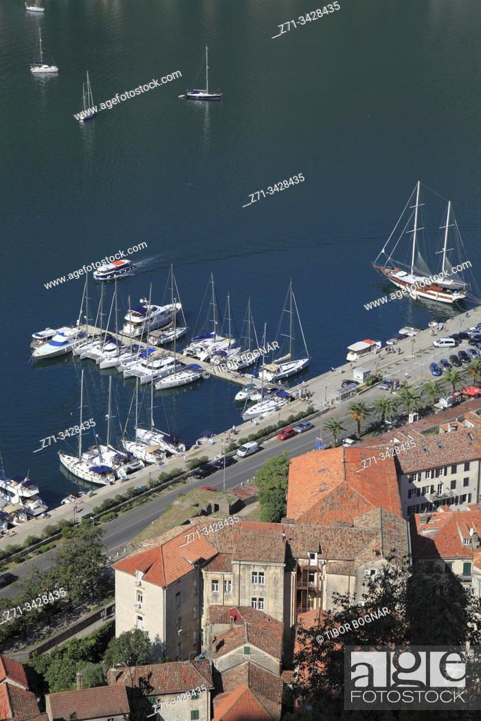 Imagen: Montenegro, Kotor, marina, boats, aerial view.
