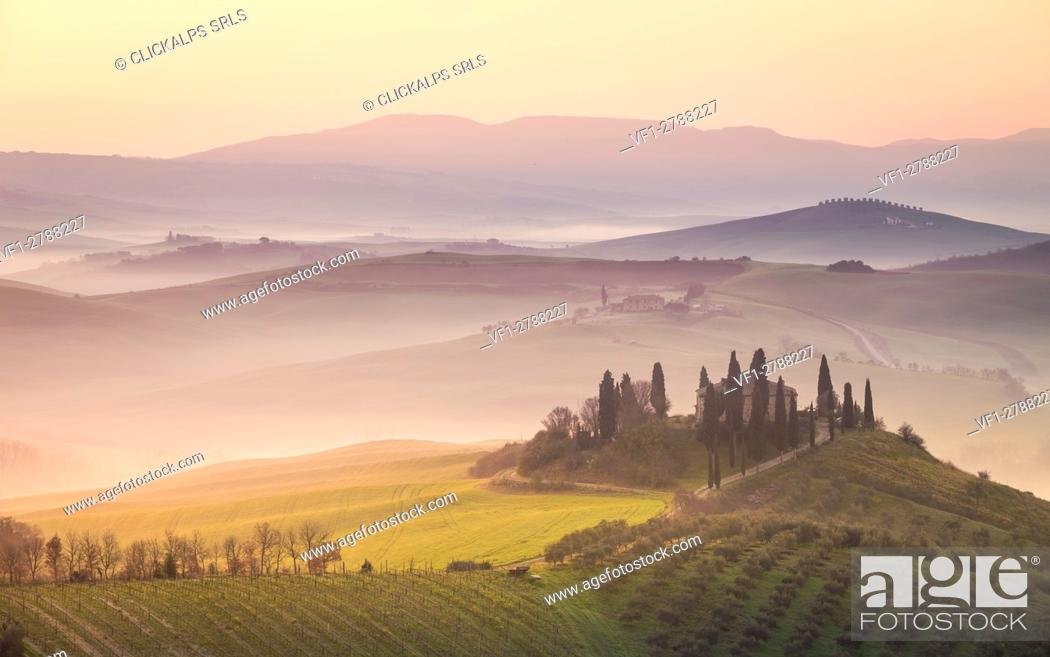 Stock Photo: Podere Belvedere, San Quirico d'Orcia, Val d'Orcia, Tuscany, Italy.