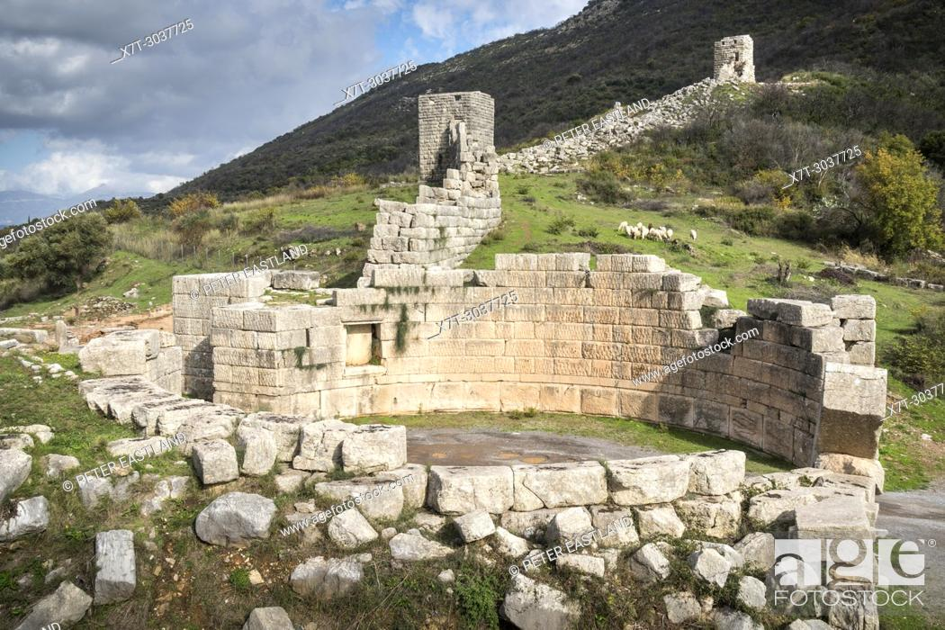 Stock Photo: The Arcadia gate and massive stone walls at ancient Messene (Ithomi), Messinia, Southern Peloponnese, Greece.