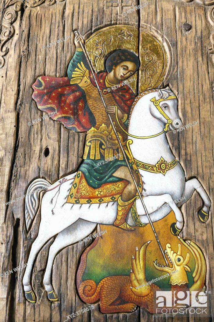 Stock Photo: Edirne, Turkey. Painting on wooden panel of St George killing the Dragon in St George's Bulgarian Orthodox church.