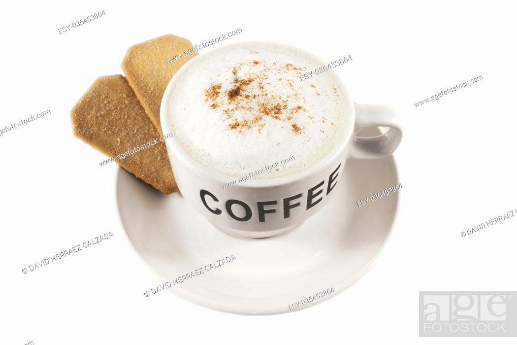 Stock Photo: Coffee cup with biscuits over white isolated background.