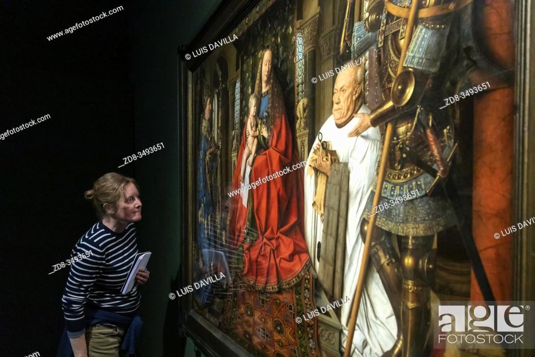 """Imagen: famous masterpiece of Van Dyck """"""""Virgin and Child with Canon van der Paele"""""""" in the Groeninge Museum. Bruges. Belgium."""