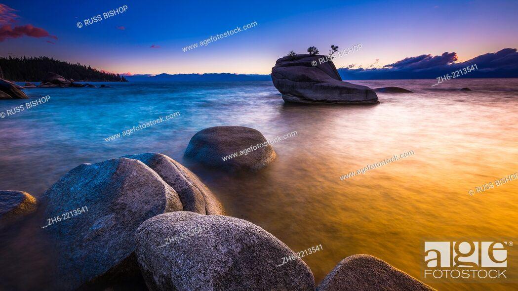 Stock Photo: Bonsai Rock at sunset, Lake Tahoe, Nevada, USA.