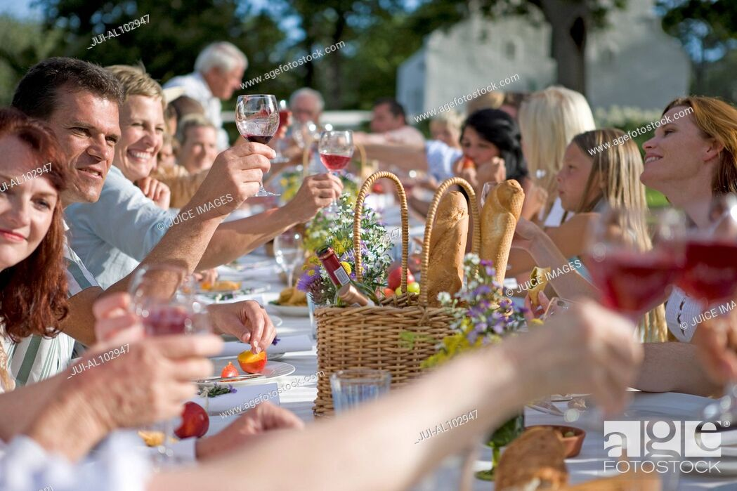 Imagen: Guests at an outdoor lunch raising their glasses in a toast.